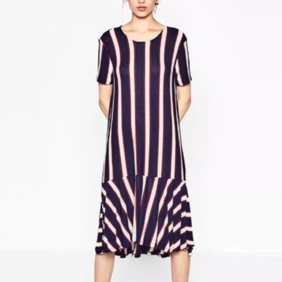 Zara Dresses & Skirts - NWT Zara Trafaluc Striped Frill Bottom Midi Dress
